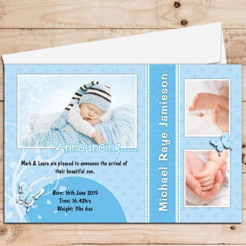 10 Personalised Baby Birth Announcement PHOTO cards N97